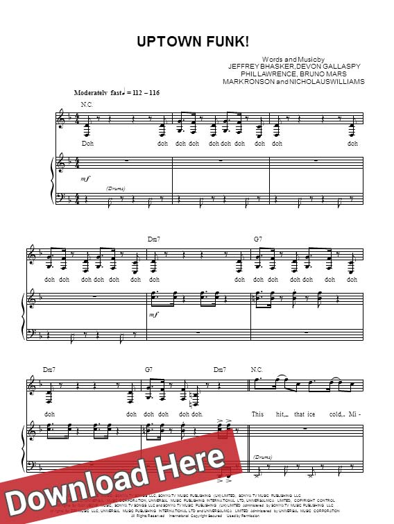 Mark Ronson, Bruno Mars, Uptown Funk, sheet music, piano notes, score, chords, download