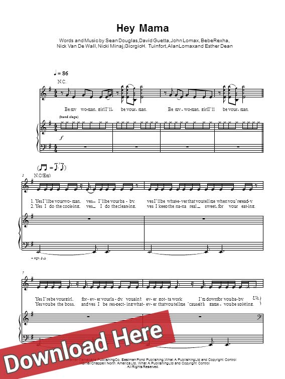 david guetta, nicki minaj, bebe rexha, afrojack, hey mama, sheet music, piano notes, partition