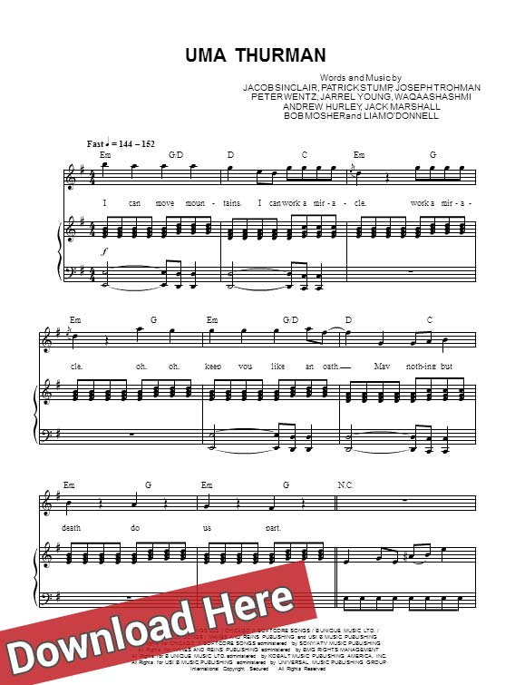 fall out boy, uma thurman, sheet music, piano notes, score, chords, keyboard, how to play, learn