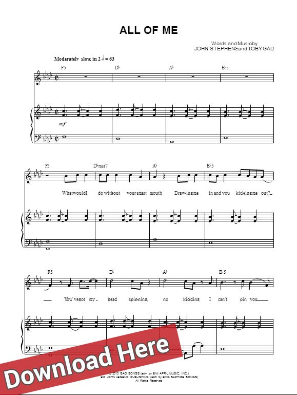 John Legend All Of Me Piano Sheet Music; Notes, Chords