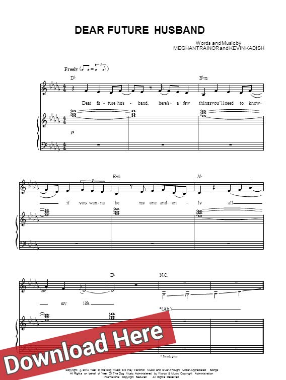 meghan trainor, dear future husband, sheet music, piano notes, score, chords, download, guitar, tabs