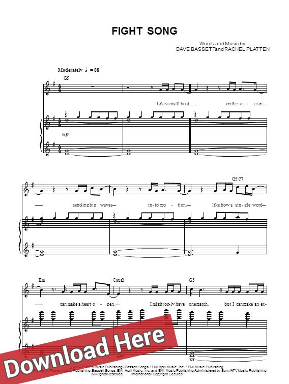 rachel platten, fight song, sheet music, piano notes, score, chords, download, free