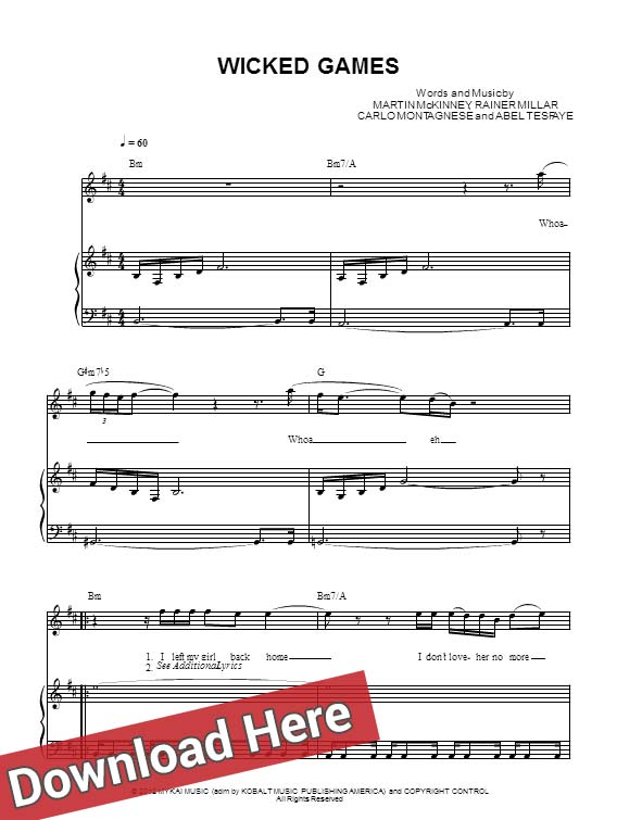 The Weeknd Wicked Games Sheet Music & Piano Notes, Chords