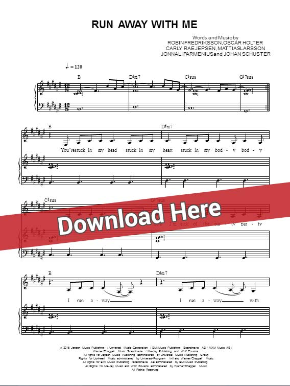 carly rae jepsen, run away with me, sheet music, piano notes, score, chords, download, how to play, tabs