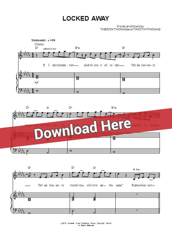 adam levine, locked away, sheet music, piano notes, score, chords, download, keyboard