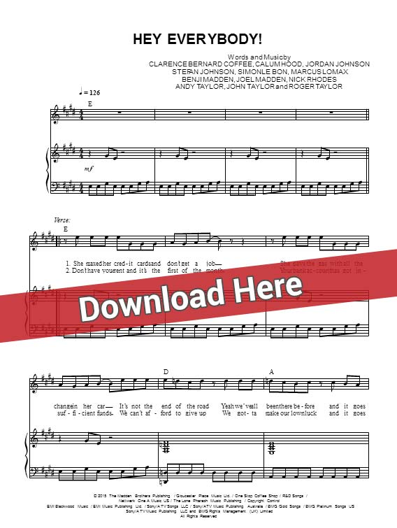 5 seconds of summer, hey everybody, sheet music, piano notes, score, chords, download, keyboard, klavier, noten, partition, instrument, how to play, learn, tutorial