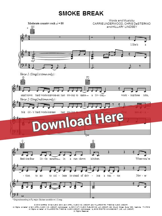 Carrie Underwood Smoke Break Sheet Music Piano Notes Chords