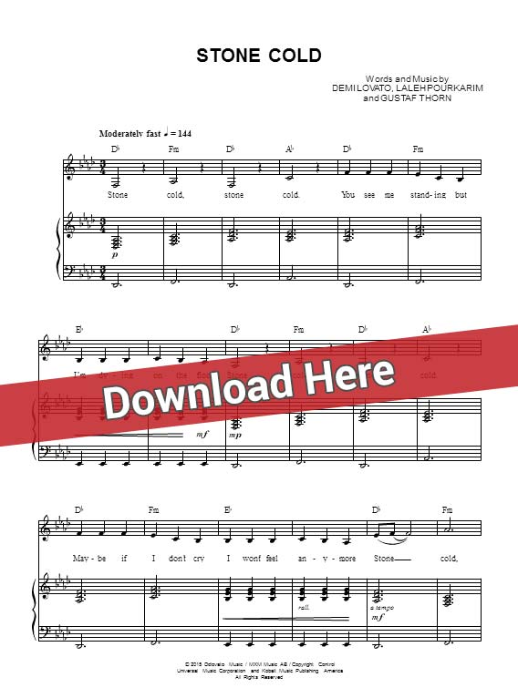 demi lovato, stone cold, sheet music, piano notes, score, chords, download, keyboard, guitar, tabs, instrument, saxophone, violin, flute