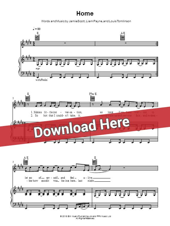 one direction, home, sheet music, piano notes, score, chords, download, guitar, tabs, klavier, noten, partition, instrument, keyboard