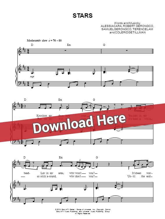 alessia cara, stars, sheet music, piano notes, score, chords, download, klavier noten, keyboard, guitar, tabs, bass