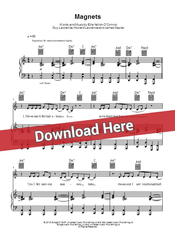 disclosure, magnets, sheet music, piano notes, score, chords, download, klavier noten, partition, guitar, tabs