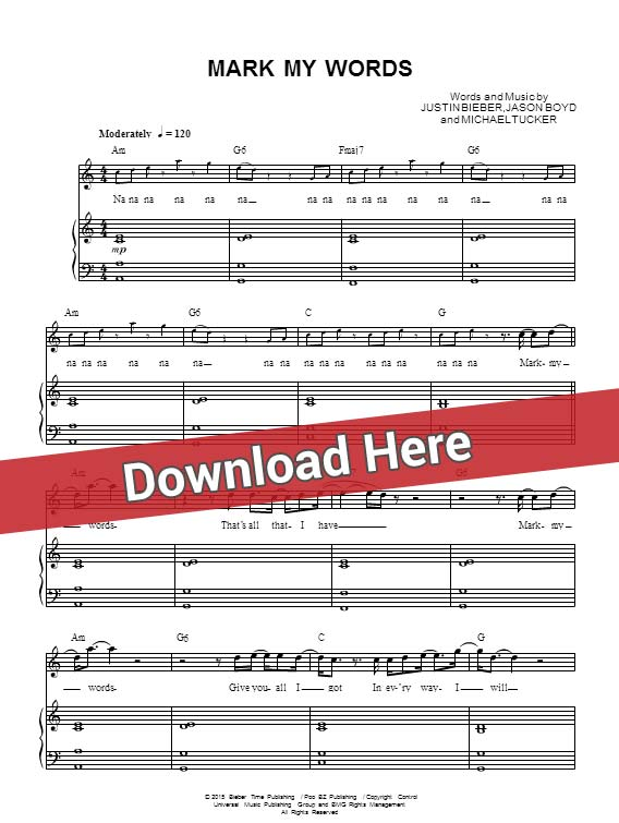 justin bieber, mark my words, sheet music, piano notes, score, chords, download, how to play, learn, keyboard, guitar, tabs, instrument, klavier noten