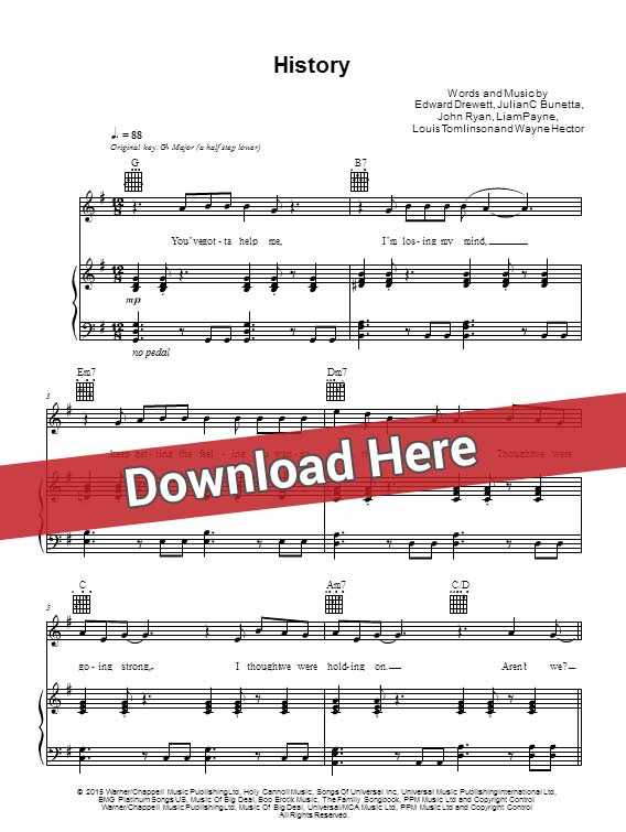 one direction, history, sheet music, piano notes, score, chords, download, keyboard, guitar, tabs, klavier, noten, partition