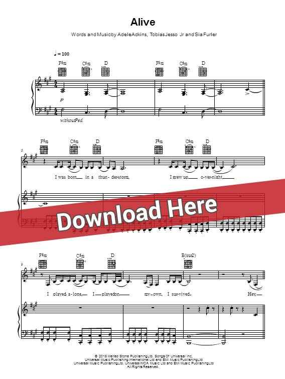 sia, alive, sheet music, piano notes, score, chords, download, keyboard, guitar, tabs, klavier, noten, partition, how to, learn, for, tabs