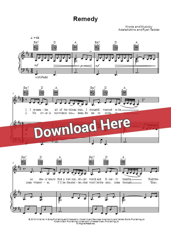 adele, remedy, sheet music, piano notes, score, chords, download, keyboard, guitar, tabs, bass, klavier noten, partition, saxophone, violin, flute