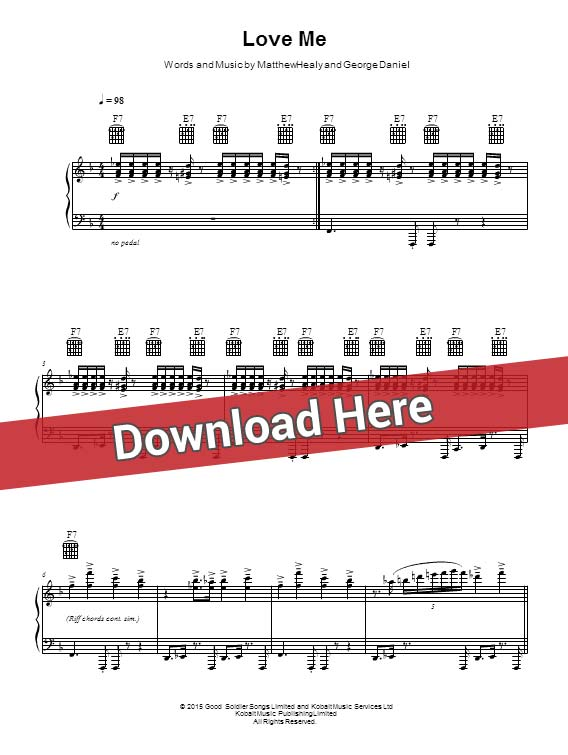 the 1975, love me, sheet music, piano notes, score, chords, download, keyboard, guitar, tabs, klavier noten, partition, saxophone, violin, flute