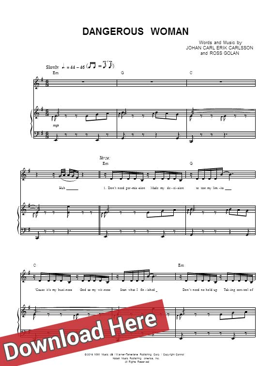 ariana grande, dangerous woman, sheet music, chords, piano notes, score, chords, download, compose, artist, learn to play, how to, klavier noten