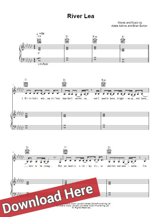 adele, river lea, sheet music, chords, piano notes, score, keyboard, lesson, guitar, tabs, bass, cleff, klavier noten, partition, akkorden
