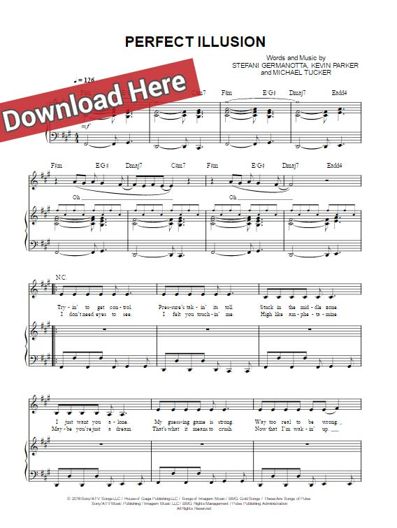 lady gaga, perfect illusion, sheet music, piano notes, chords, download, keyboard, pdf, klavier noten, guitar, voice, vocals
