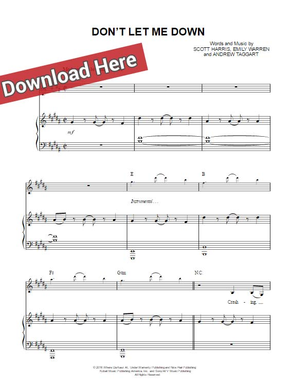 the chainsmokers, don't let me down, sheet music, chords, piano notes, keyboard, guitar, voice, vocals, download, pdf, klavier noten