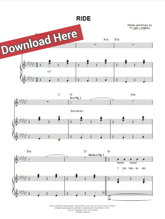 twenty one pilots, ride, sheet music, chords, piano notes, klavier noten, keyboard, guitar, tabs, download, pdf