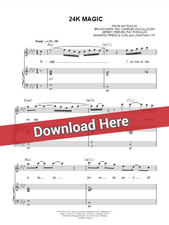 Bruno Mars '24K Magic' Sheet Music, Piano Notes, Chords