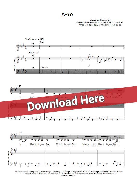 lady gaga, a yo, sheet music, piano notes, chords, tutorial, lesson, klavier noten, keyboard, guitar