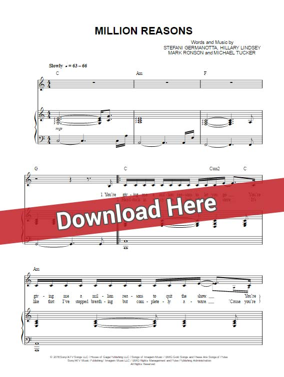 lady gaga, million reasons, sheet music, chords, piano notes, keyboard, voice, vocals, tutorial, lesson, klavier noten, download, pdf
