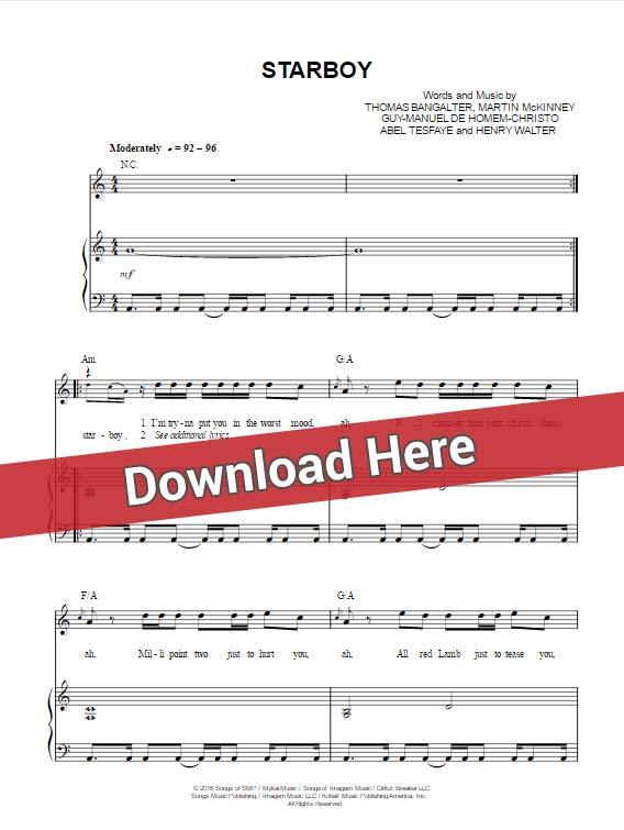 the weeknd, starboy, sheet music, chords, piano notes, daft punk, keyboard, tutorial, lesson, klavier noten, download